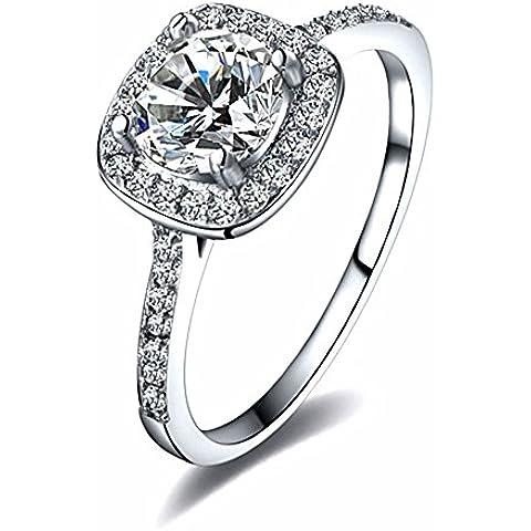 MIOIM® Anillo de Mujer de Plata con Circonitas Anillo Diamantes para Boda Fiesta San Valentín Amor,Color de Oro