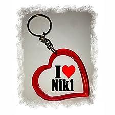 """EXCLUSIVO: Llavero del corazón """"I Love Niki"""" , una gran idea para un regalo para su pareja, familiares y muchos más! - socios remolques, encantos encantos mochila, bolso, encantos del amor, te, amigos, amantes del amor, accesorio, Amo, Made in Germany."""