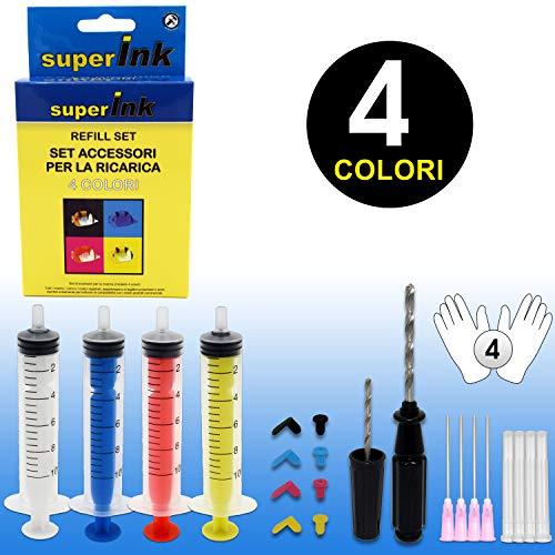Set Ricarica superInk (4 colori) per cartucce inkjet (Canon Epson Brother HP Ricoh Dell Lexmark) 4 siringhe colorate + 4 paia di guanti + 8 tappini colorati (2 versioni) + 2 mini trapani 2mm e 3,6mm