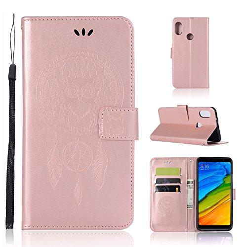 Nadakin Xiaomi Redmi S2 Funda Carcasa PU Leather Case Interna Suave Patrón de búho Libro de Cuero con Cierre Magnético para Xiaomi Redmi S2(Oro Rosa)