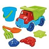 ColorBaby- Set de Playa: 1 camión Remolque, 1 Cubo, 1 rastrillo, 1 Pala y 3 moldes (43505)