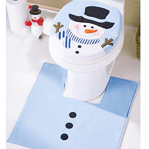 Natale Decorazione Creative Festival Ornamento bagno casa decorata babbo natale Toilet Seat Cover & Tissue Dispenser, Set velluto Light Blue