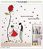 HCCY Limpiar la Pared romántica decoración cálida decoración Dormitorio salón habitación Carteles Wallpaper Amor Rosas Wall Sticker Pinturas Que Parejas 120 * 120cm Rose
