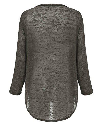 ZANZEA Femme Casual Lâche Automne Irrégulier Manches Chauve-souris Longue Pull-over Shirt Gris