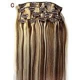 ODJOY-FAN 7 stück 20 Zoll Perücken Clip Im Remy Echt Mensch Haar Erweiterungen Voll Kopf Charmant Haar Damen Haarteile Haarverlängerung(C,1 PC)