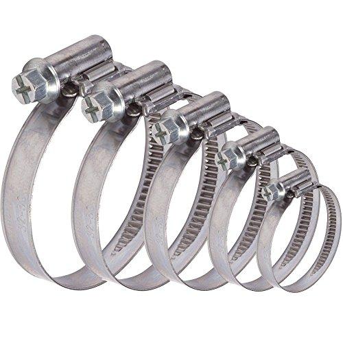 AUPROTEC Collier de Serrage à vis en acier inoxydable V2A W2 DIN 3017 choix: 8 - 16 mm, 10 pièces