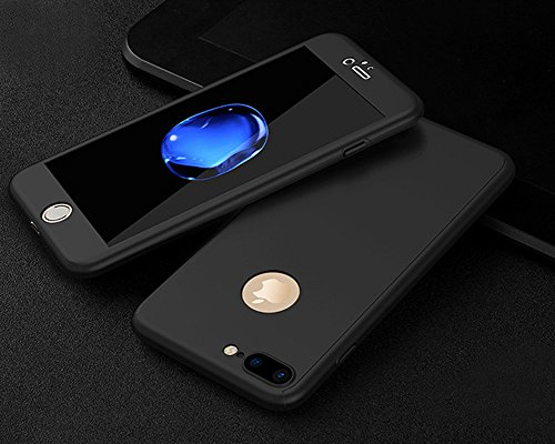 Custodia iPhone 7 4.7,Ukayfe Full Body Cover 360 gradi Protezione per iPhone 7 Silicone Morbida, [2 in 1] Completa Case Vetro Trasparente Screen Protector Film Ultra Resistente per iPhone 7 Flexible T Nero di Seta