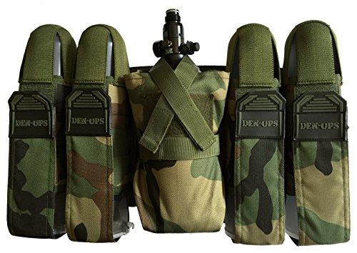 CKSN Deniable-Ops Zubehör für Paintball, 4+1-Set, Tankholder, Geschirr, Gürtel für Schlauchsystem, Woodlang / Camouflage, Waist Size Range 26