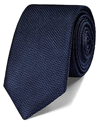 Navy Silk Classic Plain Slim Tie by Charles