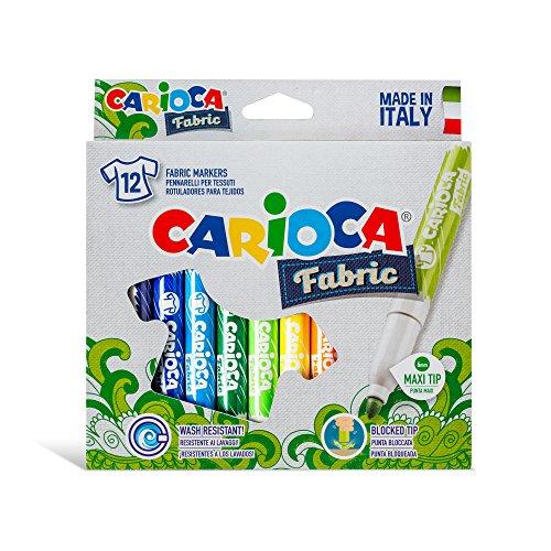 Carioca 40957/a - cromatex confezione 12 pennarelli, con inchiostro speciale per tessuti, maxi punta, 6 mm