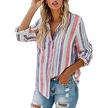 Minetom Mujer Lino Blusa Moda Rayas de Colores Camisa Otoño Elegante Manga Larga Botones Camiseta Tops