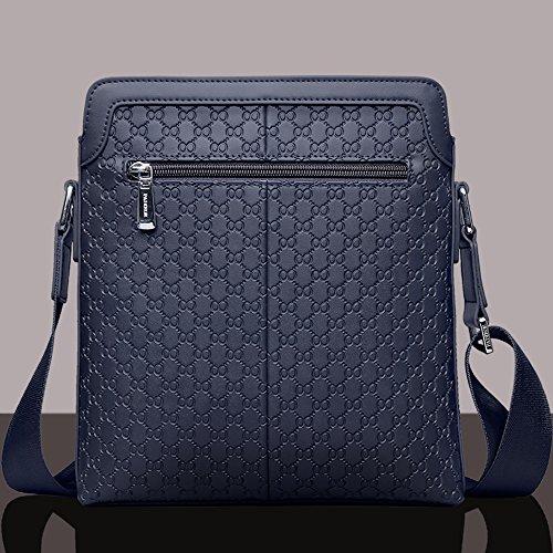 Padieoe Leder kleine Herren Schultertasche Umhängetasche Aktentasche Messenger Bag für Damen Blau Blau