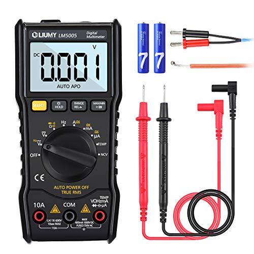 Digital Multimeter, LIUMY LM5005 6000 Counts Auto Range Multimeter mit True RMS,AC/DC Voltage Current Detector, Temperaturmessung, Hintergrundbeleuchtung und Resistance, Capacitance, Duty Cycle Tester