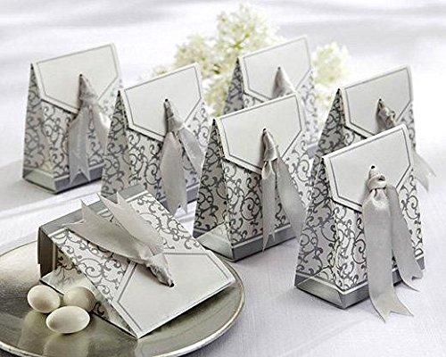 Disok–scatola con fiocco d'argento,dettagli per nozze d'argento, 25° anniversario