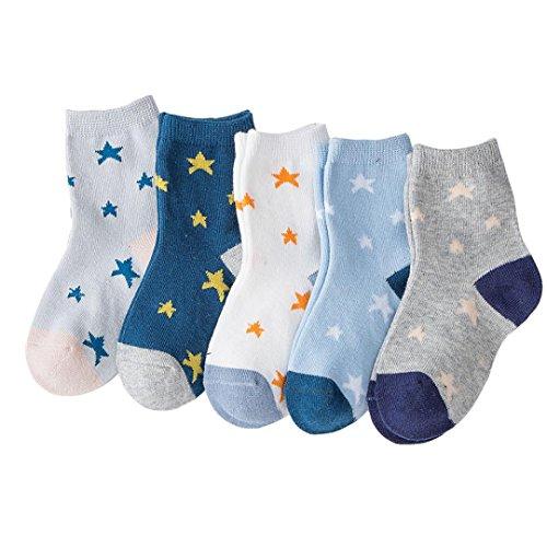 Upxiang 5 Paare Kinder Herbst Winter Socken Baby Jungen Mädchen Brief Drucken Stricken Baumwolle Socken Infant Kinder Socken (S, Sterne) (Drucken Eye)