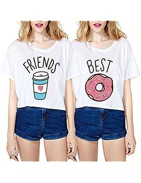 Mejores amigos camisetas para mujeres 2 piezas impresión Donas y Café niñas interesante chica Manga corta por...