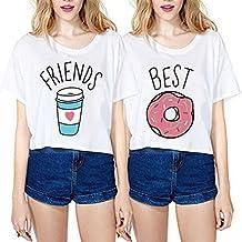 JWBBU Mejores Amigos Camisetas para Mujeres 2 Piezas impresión Donas y Café niñas Interesante ...