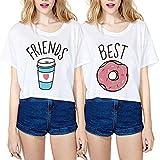 JWBBU Best Friends T-Shirt Mädchen Sommer Guter Freund Shirt für Zwei Damen Weiß Oberteil Süß kurz mit Aufdruck Donuts Getränke Geschenk 2 Stücke S+Friends-S