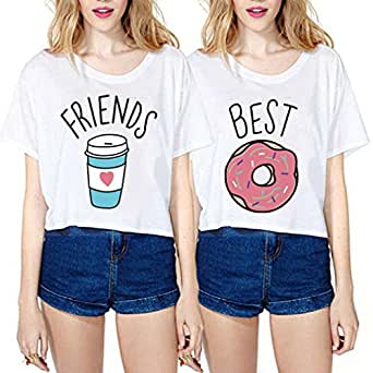 jwbbu fille t shirt best friends imprim femme set donuts et boissons col round manches courtes. Black Bedroom Furniture Sets. Home Design Ideas