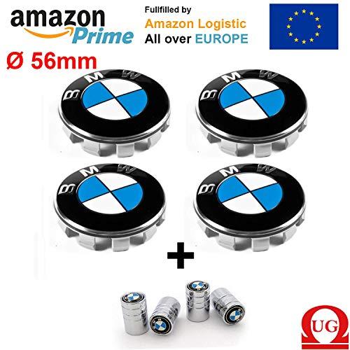 UG 4 Tappi Coprimozzo Fregi Compatibile per BMW 55mm, Serie 1 2 3 4 5 6 7 M Z X Borchie Cerchi Lega - 4 Tappi Valvola in Omaggio