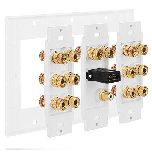 Fosmon [3-Gang 7.1 Surround Sound] Heimkino-Wandplatten Vergoldet Kupfer-Banane Bindung Pfosten Coupler Typ Wandplatte für 7 Lautsprecher und 1 RCA Buchse für Subwoofer & 1 HDMI Ports (Weiß) - 5