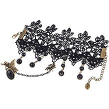 Yazilind Bracelets Dentelle noire avec anneau Lolita papillon araignee glands perles chaine mariage metallique