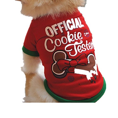 Xshuai Fashion Cute Pet Small Puppy Dog Cool Clothes Christmas Cotton T Shirts Costume Apparel Clothes XS S M L