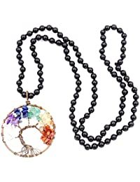 Collar de piedras preciosas perlas Mala, 108 Buddhist prayer beads Collar, Collar anudadas a mano