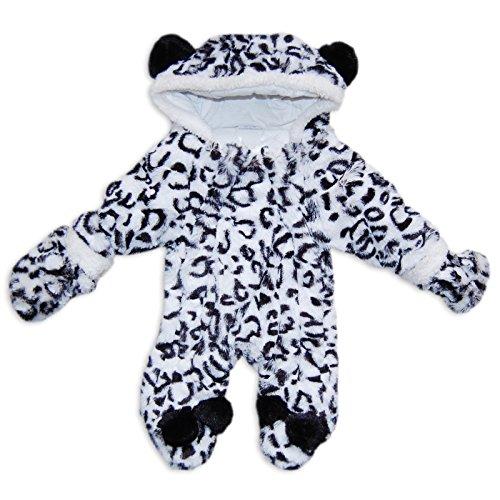 Bambina in finta pelliccia Stampa Leopardo Delle Nevi Snowsuit Pramsuit