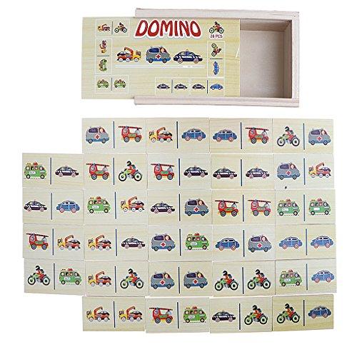MagiDeal 28 Stücke Holz Domino Holzdomino Dominospiel Blöcke Puzzle mit Fahrzeug Muster Spielzeug (Domino-muster)