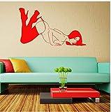 Yangll Personnalité Stickers Muraux Vinyle Decal Sexy Nue Fille Nue Striptease Go Go Danse, Rouge