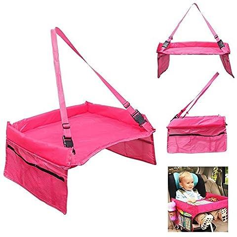 OurKosmos® Baby-Auto-Tray Table Kinder Snack-Auto-Sitzwasserdicht Einstellbare Sicherheitsgurt Zeichenbrett Buggy Reise Kinderwagen Kinderautowannen mit Taschen (Red)