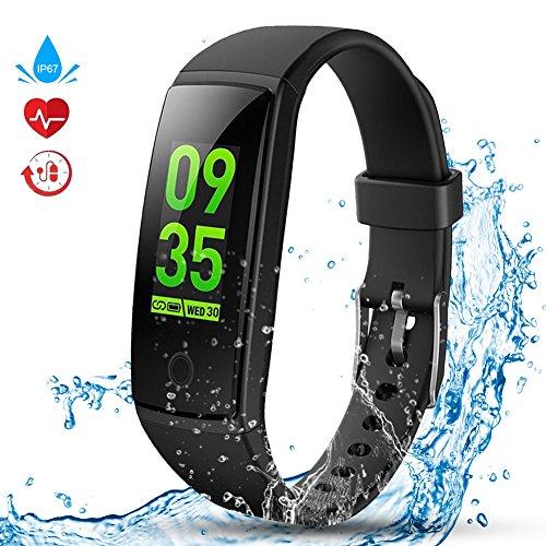Kitbeez Fitness Tracker, Smart Armbänder IP67 Wasserdicht Sport Aktivitätstracker Schrittzähler mit Herzfrequenz Schlafmonitor Herren Damen für IOS und Android Handy Schwarz
