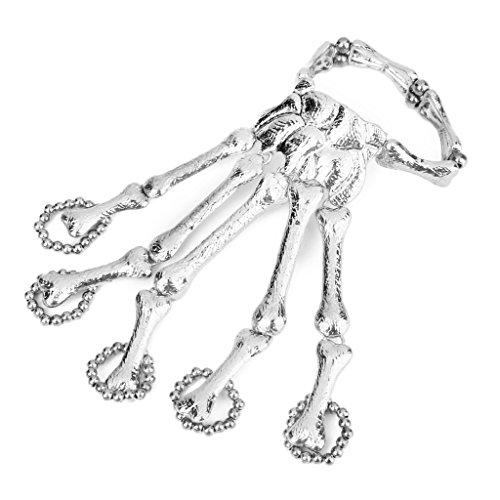 Mode Punk Silber Skelett Hand Kette Fingers Skelett Armband Sklave Ring