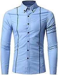 BUSIM Men's Long Sleeve Shirt Fashion Personality Stripe Print Splicing Slim Fashion T-Shirt Button Top Comfortable...