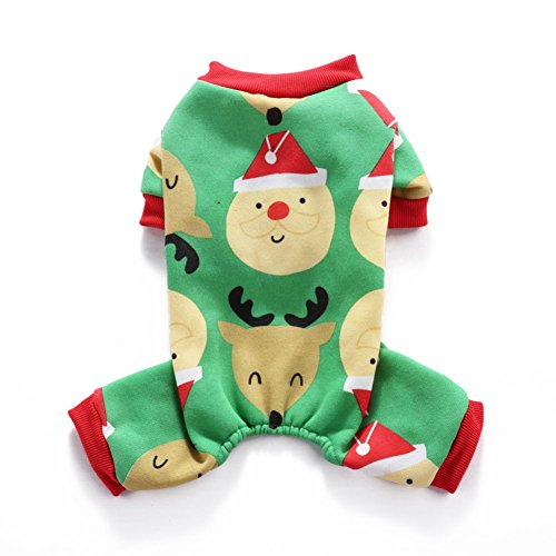 etopfashion Kleidung für Hund, Hunde Warme Kleidung Puppy Herz Jumpsuit Pyjama wasserplanschen Mignon Neujahrs-Weihnachten (Team-pyjama-hose-muster)