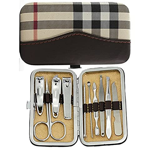 Stainless Steel 10pcs Nail Clippers Personal Trimmers Manicure Grooming Set with Travel Lattice Pattern Case