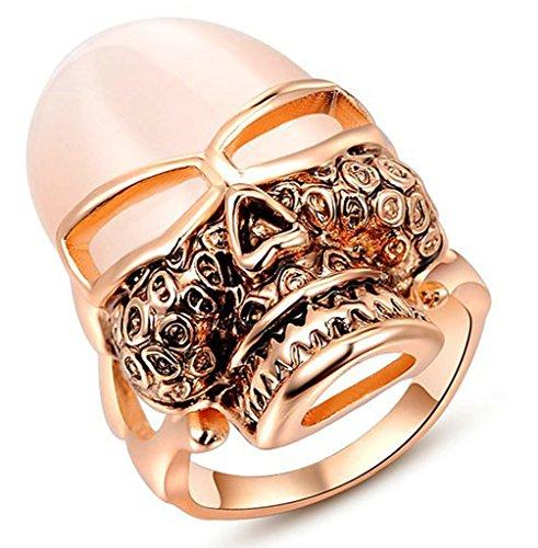 Beydodo Vergoldet Damen Versprechen Ringe Rose Schädel Größe 52 (16.6) Rose Gold