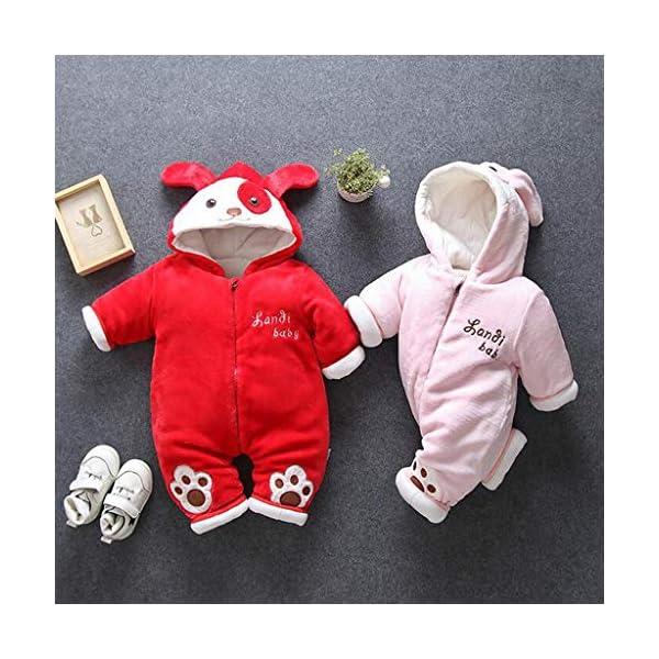 Recién Nacido Mono Invierno Moda Niñito Bebé Niños niñas Calentar Perro Encapuchado Color sólido Mameluco Mono… 2
