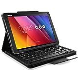 KARYLAX Seluxion - Etui de Protection Noir avec Clavier Français Azerty Connexion Bluetooth pour Tablette ASUS Zenpad 10 Pouces [Z300C/Z300M/Z301M Dimensions 251,5 x 172 x 8,3mm]