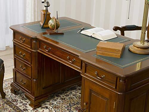 Simone Guarracino Partner Schreibtisch Victorian Englischer Stil Büro Doppelschreibtisch 150 cm walnuss Kunstleder grün (Schreibtisch Partner)