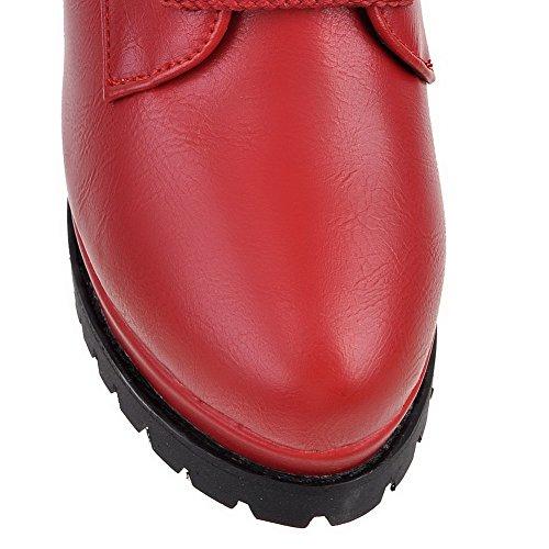 VogueZone009 Damen Niedrig-Spitze Schnüren Weiches Material Hoher Absatz Rund Zehe Stiefel Rot