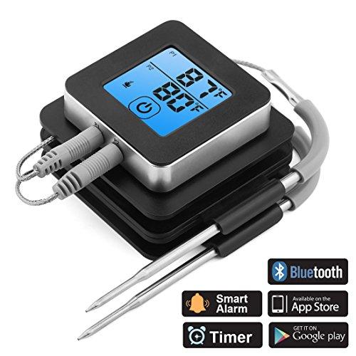 ACTOPP Grillthermometer BBQ Bratenthermometer Thermometer 2 Sonden Einstichthermometer Temperatur Voreinstellung Alarm IOS Android Magnetische Design für Kochen Grill Steak Smoker Backen