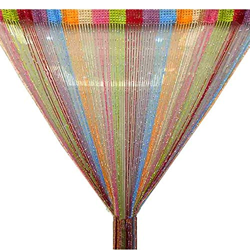 Trixes Mehrfarbig Fadenvorhang im Tautropfen Design als Raumteiler Fliegenschutz oder als Festliche saisonale Dekoration 90cm x 200cm - Vorhänge (Rainbow) (Tür Für Die Perlen)