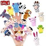 Lumiparty 16 Stück Fingerpuppen,Stofftier Kinder Lernspielzeug,Weiche pädagogische Handpuppe Set für Baby und Kleinkinder (16er)