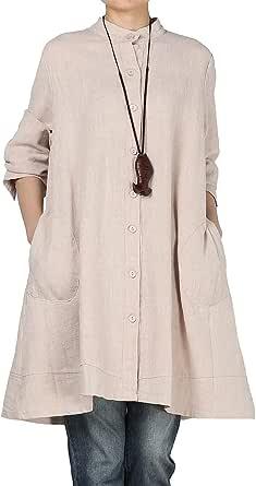 Vogstyle Damen Herbst Baumwolle Leinen Voller vorderer Knopf Blouse Kleid mit Taschen