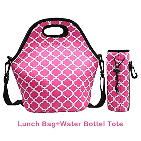 Magic Zone Wasserdicht Neopren Outdoor-Reise Picknick Lunchbox-Tasche mit Reißverschluss, Verstellbarer Schulterriemen und abnehmbarer Wasser Flasche Tasche rose