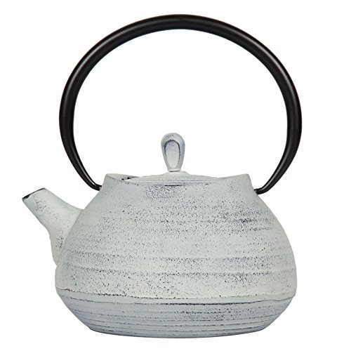 Sema 97144 Théière Boule Fonte avec Intérieur Emaillé Blanche 1L Blanc, 17 x 16 x 20,5 cm