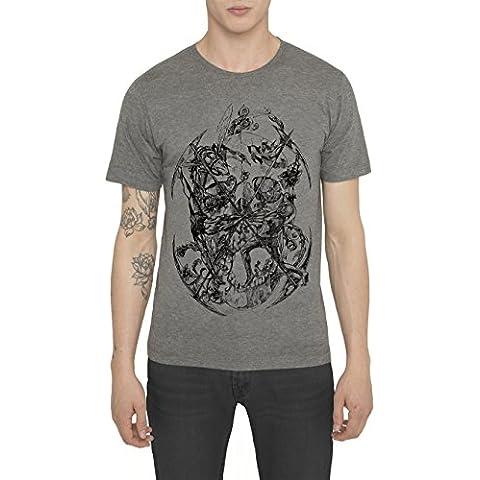 Camisetas de Algodón para Hombre, T Shirt Retro Rock, Camiseta Negra, Blanca, Gris con Estampada - SURVIVAL Cool Fashion Tattoo Design, Cuello redondo, Manga corta, Ropa Moda Designer S M L XL XXL