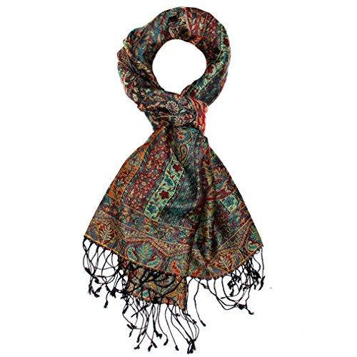 Preisvergleich Produktbild Lorenzo Cana - Luxus Pashmina Schal Schaltuch aus Seide und Wolle 70 x 190 cm Paisley Muster Schaltuch Stola Umschlagtuch gewebt